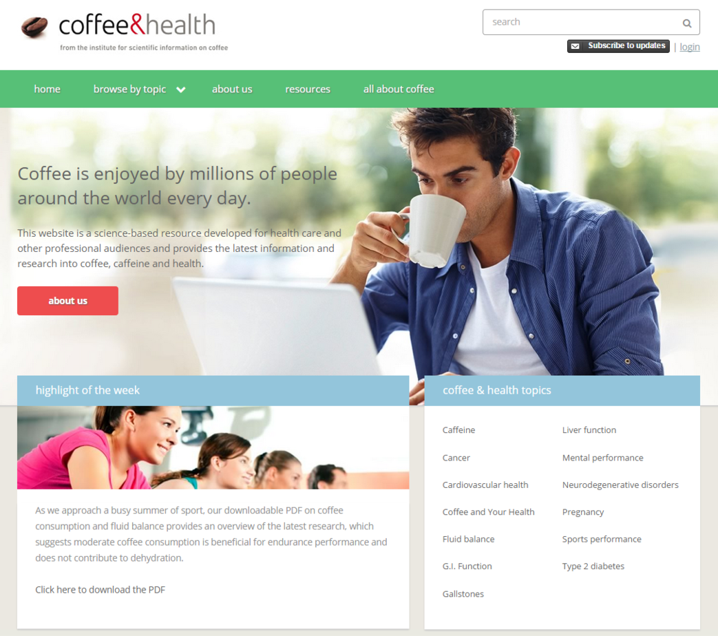 NEW WEBSITE FEATURES RESEARCH ON COFFEE AND HEALTH